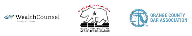 Association badges: WealthCounsel, State Bar of California, and Orange Country Bar Assocation